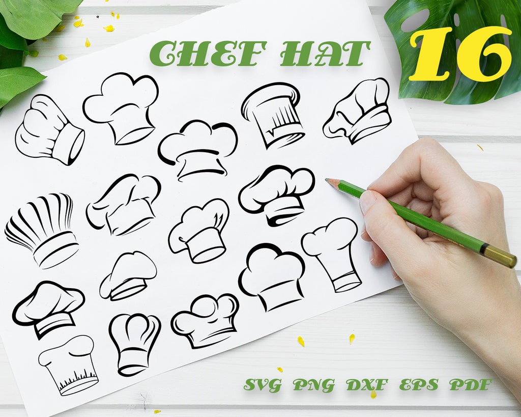 CHEF HAT SVG, Cook Svg, Chef Hat Clipart, Chef Hat Files for Cricut, Chef Hat Cut Files For Silhouette, Dxf, Png, Eps, Vector File, Instant Download