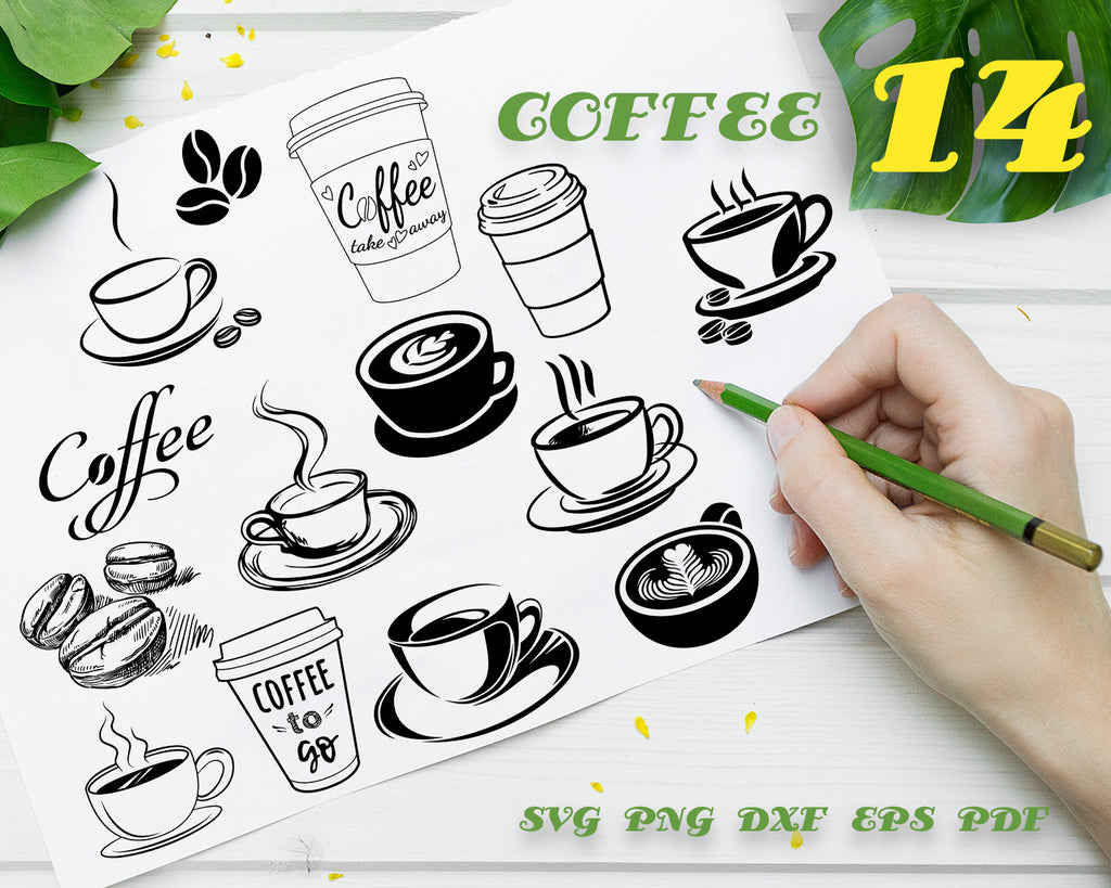 COFFEE SVG/ coffee cup svg/ coffee image/ decal/ stencil/ vinyl/ cut file/ iron on/ silhouette/ circut file/ cuttable file/ instant download