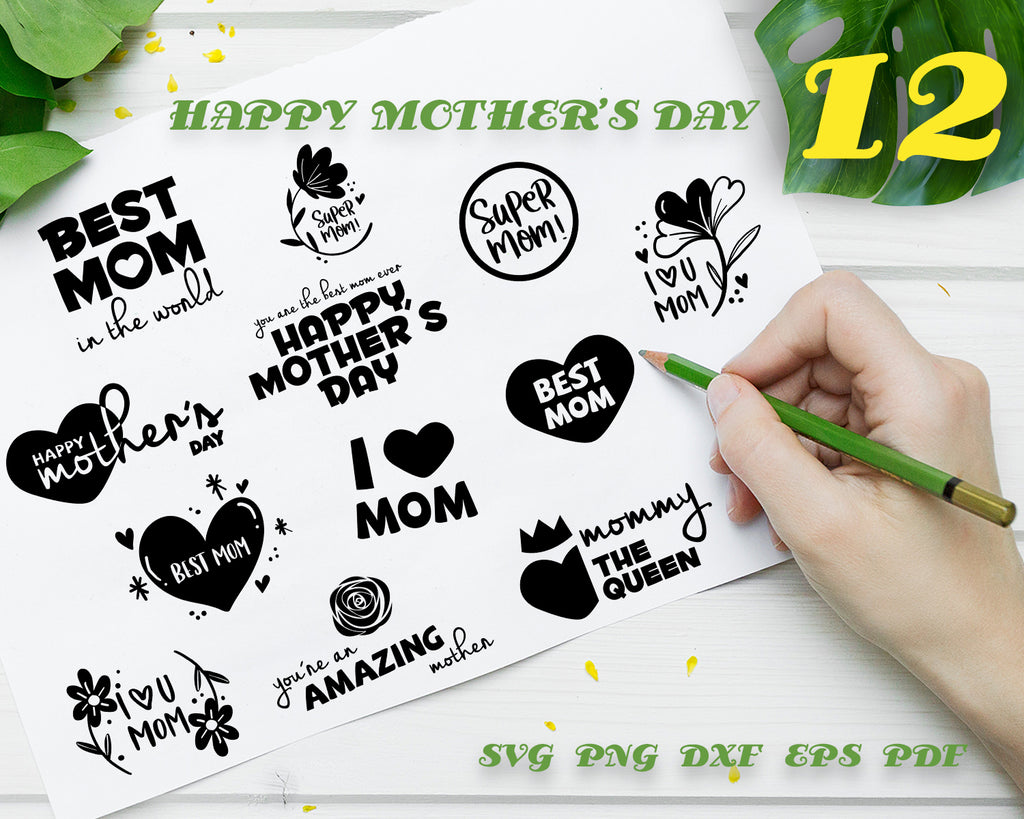 HAPPY MOTHER'S DAY SVG, clipart, silhouette, stencil, file cricut, cut file, cutting file, vector files - .EPS .DXF .SVG .PNG .PDF, vinyl design, files for crafters, instant download