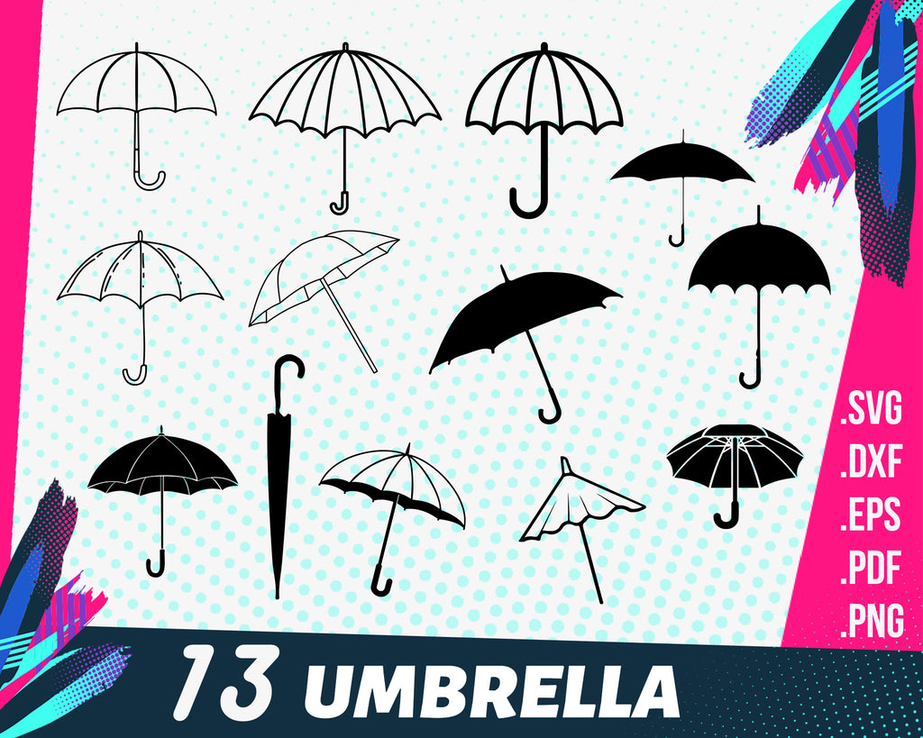 UMBRELLA SVG, umbrella clipart, umbrella cut file, umbrella vector, umbrella dxf, umbrella monogram, umbrella silhouette, umbrella png, eps