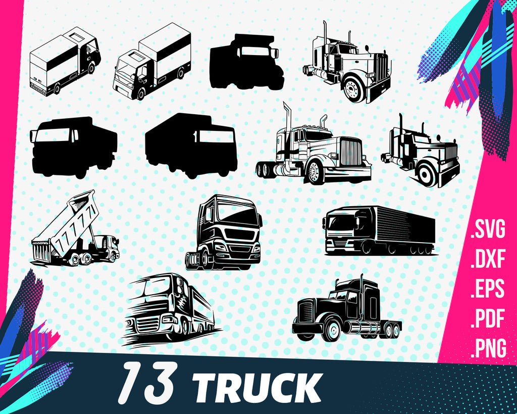 Truck svg, Truck Driver SVG, Truck SVG, 18 Wheeler Svg, Trucker Svg, Clipart, Cut Files For Silhouette, Files for Cricut, Vector, Dxf, Png, Eps, Design