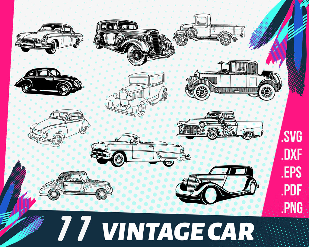 Vintage car svg, car svg, sport car svg, vehicle svg, race svg, car clipart svg, clipart, stencil, vinyl cut files, iron on files, silhouette