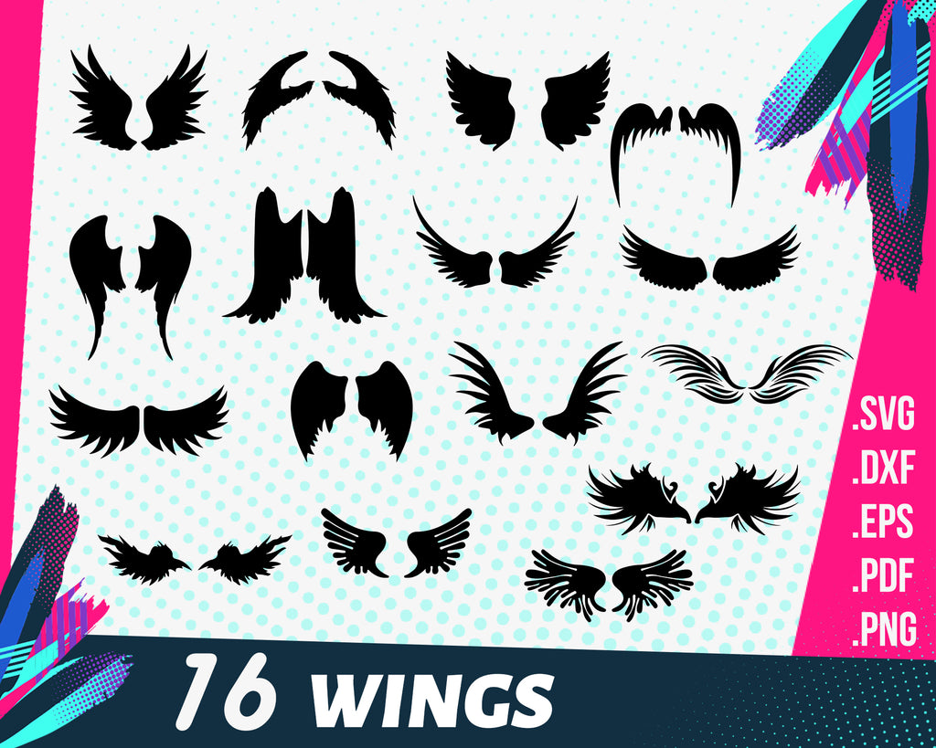 WINGS SVG, angel wings, wings cut file, wing svg, angel svg, cut file, svg dxf eps png, cricut silhouette files