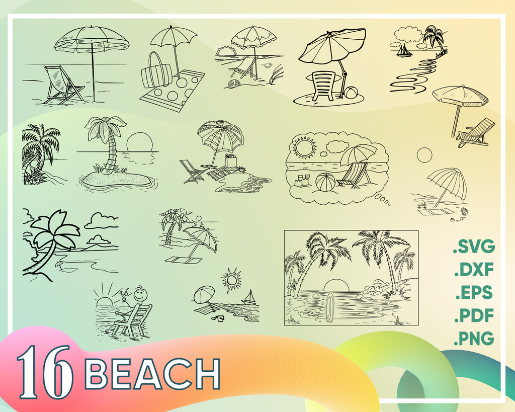 Beach svg, Beach SVG Bundle / Summer SVG Bundle / Clipart/ Cut Files / Cricut / Printable / Silhouette / Vector / Dxf