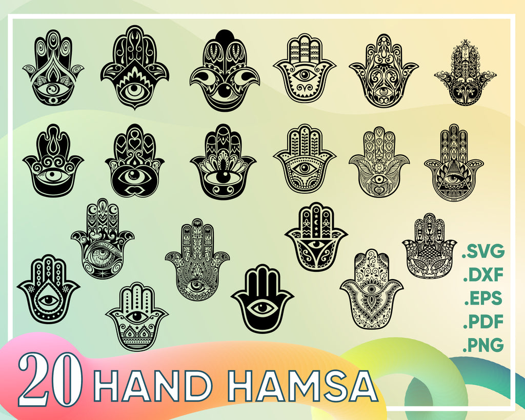 Hand Hamsa svg, Digital SVG PNG hamsa, hamsa hand, boho hand, peace, hand of fatima, hand of miriam, clipart, vector, silhouette, instant download