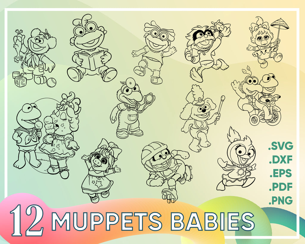 Muppets Babies Svg,  Muppet babies Svg, Muppets babies faces svg, eps, stickers, png, clipart cutfiles for Cricut Silhouette Cameo, muppets babies vector files