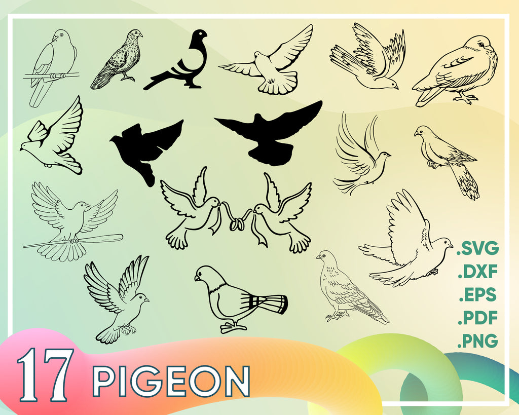Pigeon SVG, Dove SVG, Pigeon Svg ,Bird SVG, Dove Clipart, Pigeon Clipart, Dove Cut Files For Silhouette, Files for Cricut, Vector, Svg, Dxf, Png, Design