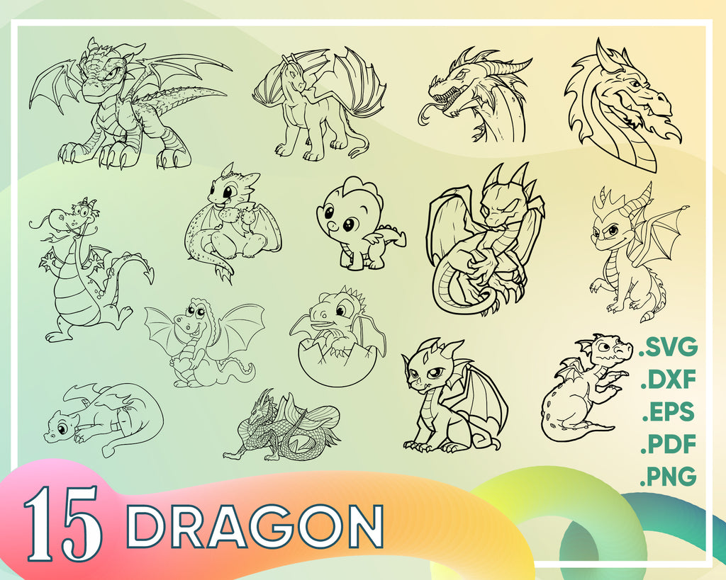 Dragon Svg, Dragons svg cut files - dragon cricut files - animal silhouette - Dragons clipart files - svg, dxf, eps, png - ST37