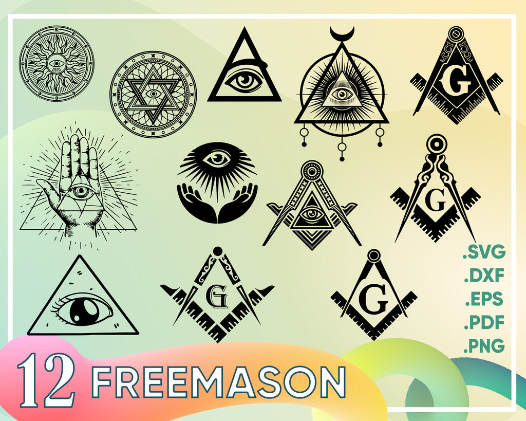 Freemason svg, Masonic svg, Freemason svg, illuminati, freemason, masonic symbols, square, compass, sign, silhouette, decal, svg, png, eps, dpf, vector