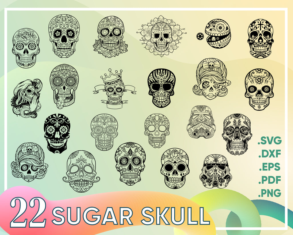 Sugar skull svg,Sugar Skull SVG ,Candy Skull Svg Dxf, Sugar Skull Black&White, Day of the Dead, Sugar Skull outline,Silhouette cameo Files svg jpg png dxf
