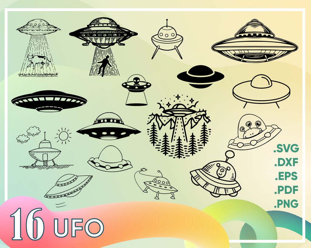 Ufo svg, UFO SVG Bundle, Ufo SVG, Ufo Clipart, Ufo Cut Files For Silhouette, Ufo Files for Cricut, Ufo Vector, Alien Ship Svg, Dxf, Png, Eps, Design