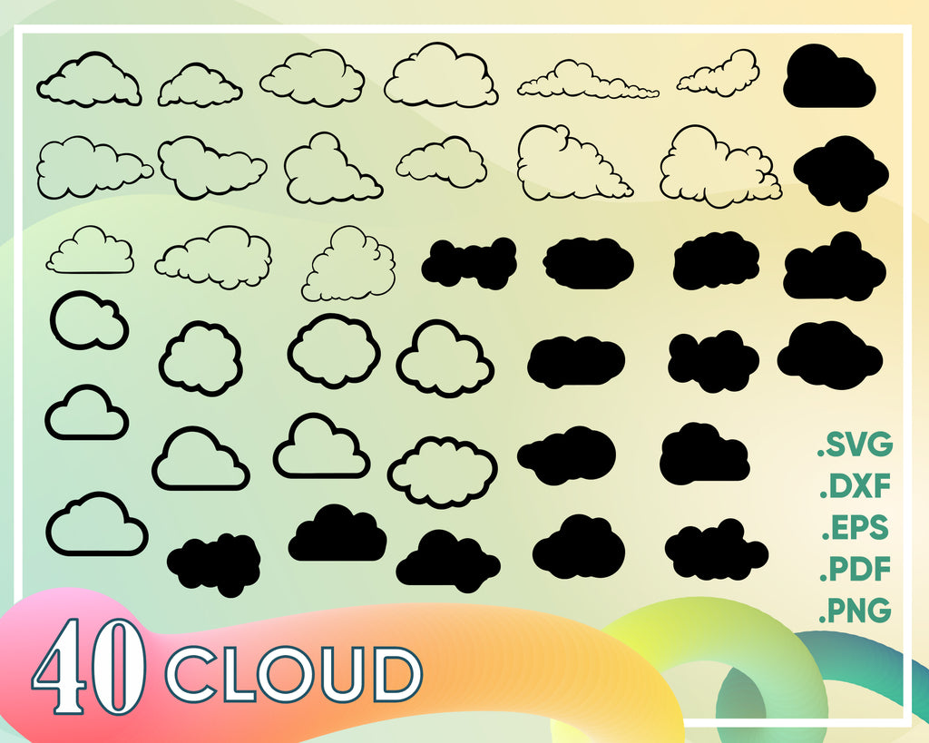 CLOUD SVG, Clouds silhouette, sky svg, Cloud bundle Svg, clouds clipart, Rain svg, rain Silhouettes, cloud stencil, cloud dxf Cloud cut file