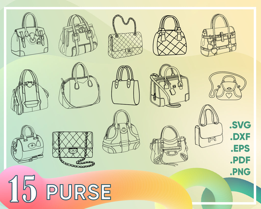 Purse svg, Handbags SVG, Handbags Bundle SVG, Purse SVG, Hand purse Svg, Fashion Svg, Bags Svg, Instant download, Big purses Svg, Eps - Dxf - Png - Svg