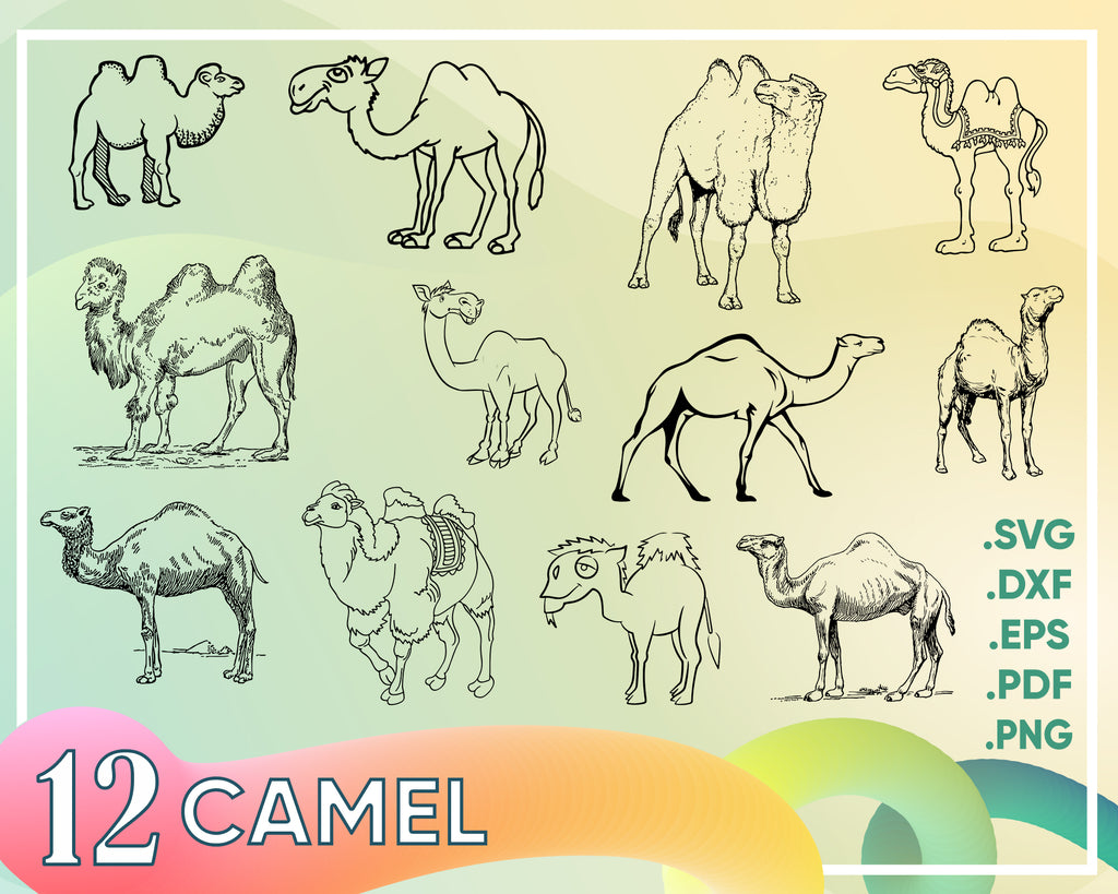 Camel svg, camel clipart, camel silhouette, camel vector, camel png, Camel Silhouette SVG Clipart Instant Download, Camel drawing for DIY Projects
