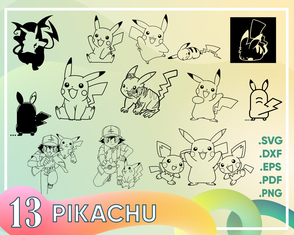 Pikachu Svg, Pikachu face svg, eps, dxf, png cutfiles for Cricut Silhouette Cameo, Pokemon svg, Pokemon Cut files, Pokemon face vector,
