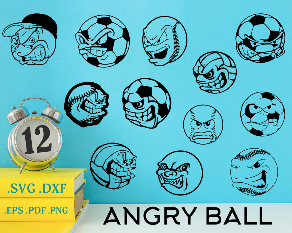 Angry Ball Svg Soccer Ball Svg Sport Svg Football Tennis Ball Ang Clipartic