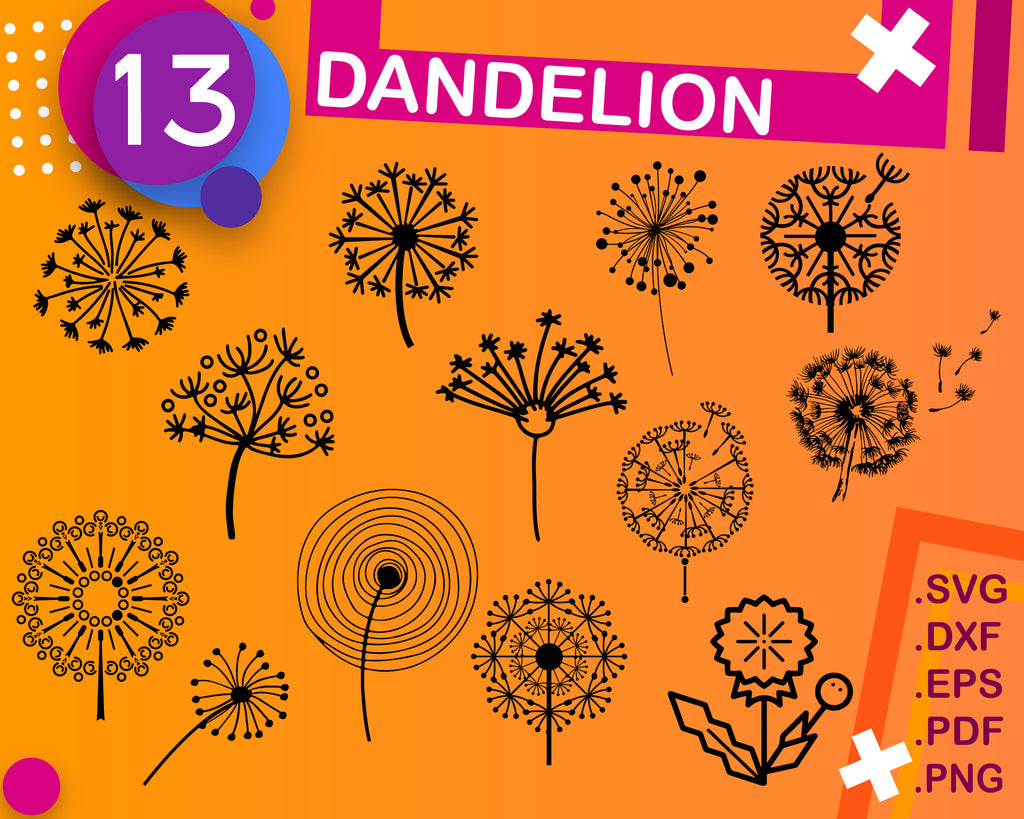 Dandelion svg cut files, flower cricut files, summer silhouette, iron on, vector, Dandelion clipart files, svg, dxf, eps, png