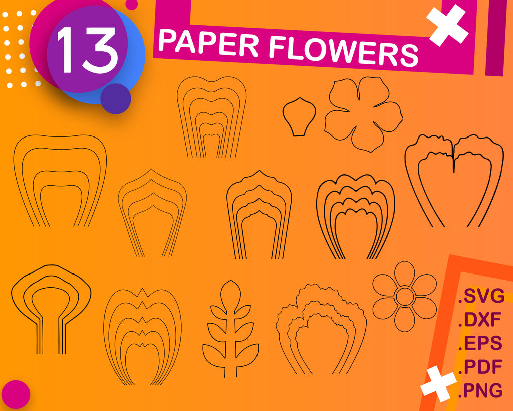 Paper Flower Template SVG, Paper flower SVG, Clipart, Cut Files, Flower template, Vector, instant download