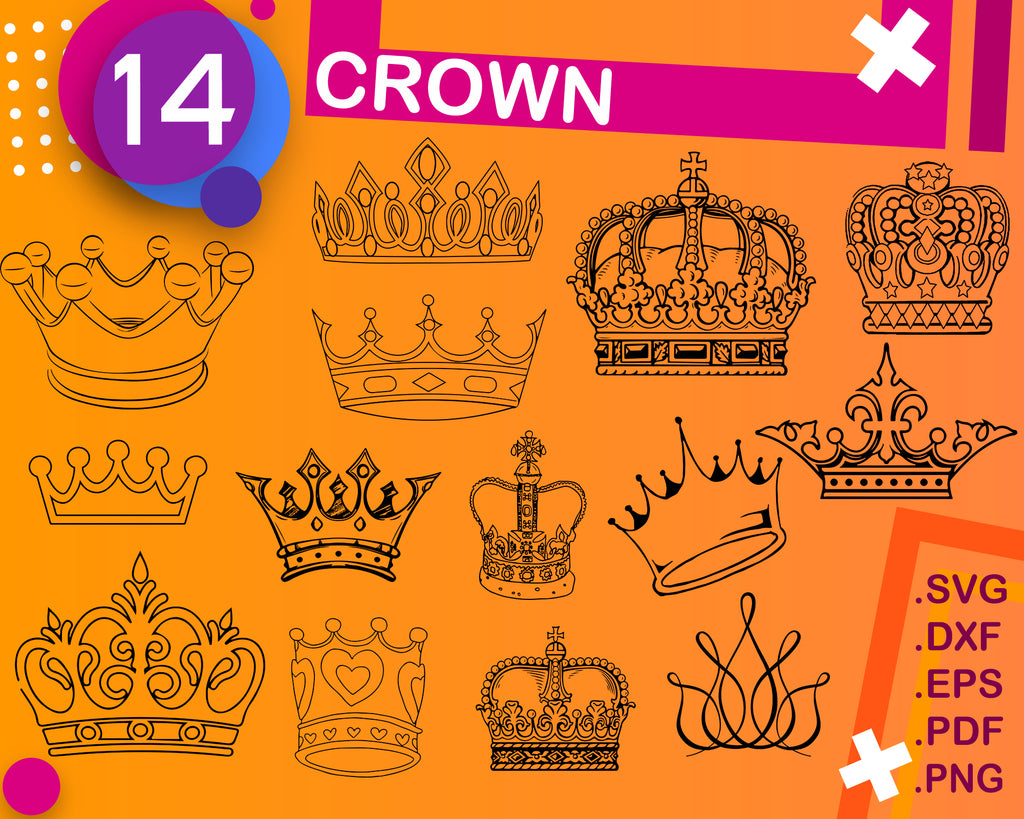 CROWN SVG, Royal Crown SVG File, King Crown, Queen Crown, Princess Tiara, Silhouette File, Cricut File, Cut File Vector, eps, dxf, png, svg