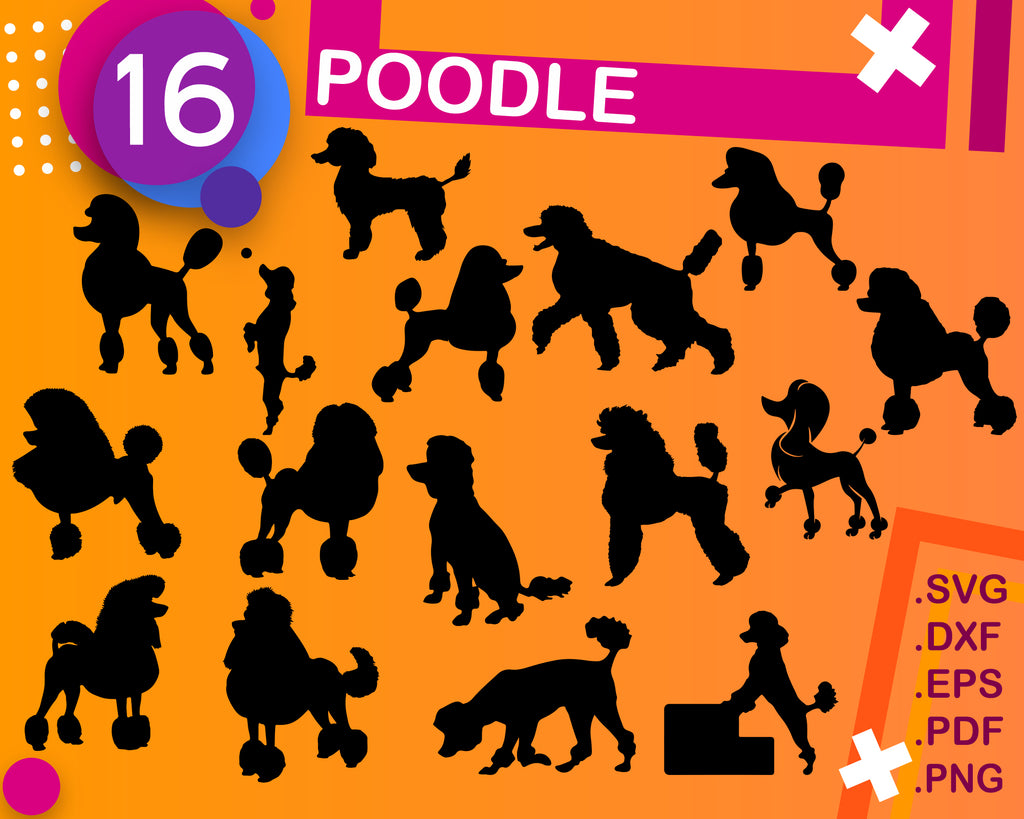 POODLE SVG, poodle clipart, poodle silhouette, poodle, poodle cut file, poodle vector, puppy svg, poodle dog svg, poodle cricut, poodle art, Svg, Dxf, Eps, Png