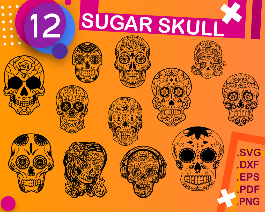 Sugar Skull SVG ,Candy Skull Svg Dxf, Sugar Skull Black&White, Day of the Dead, Sugar Skull outline,Silhouette cameo Files svg png dxf