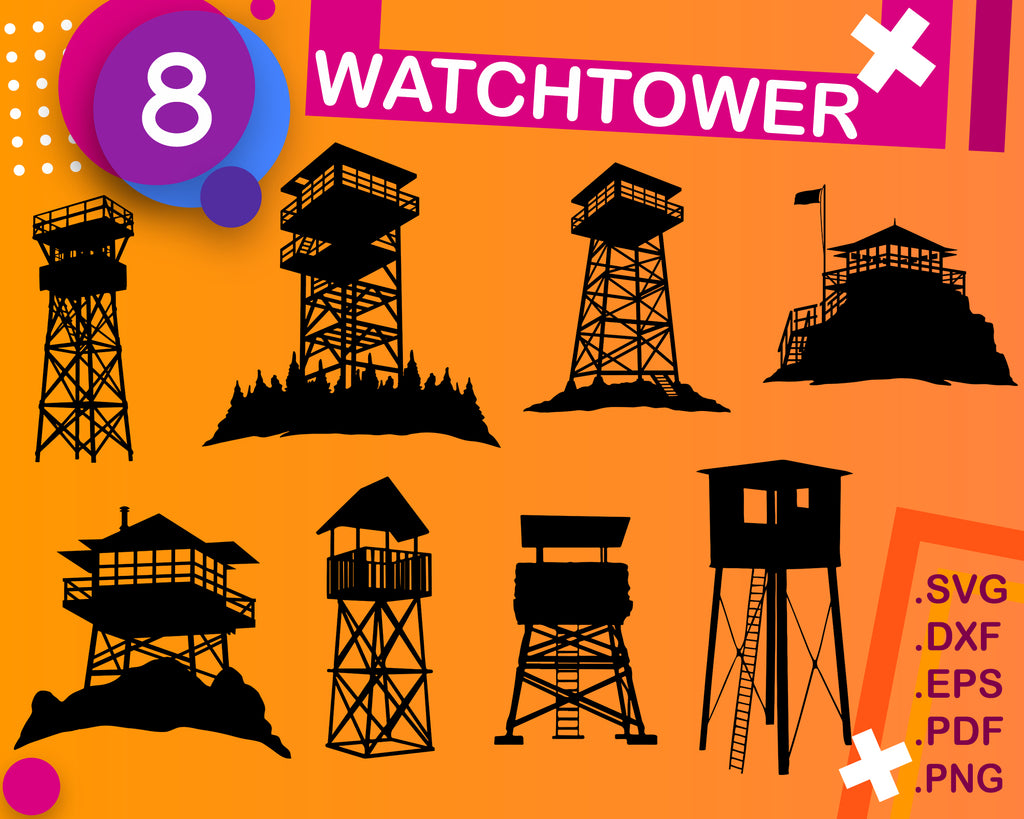 WATCHTOWER svg file, sniper tower svg, prison svg, military svg, clipart, silhouette, watchtower dxf, vector, print
