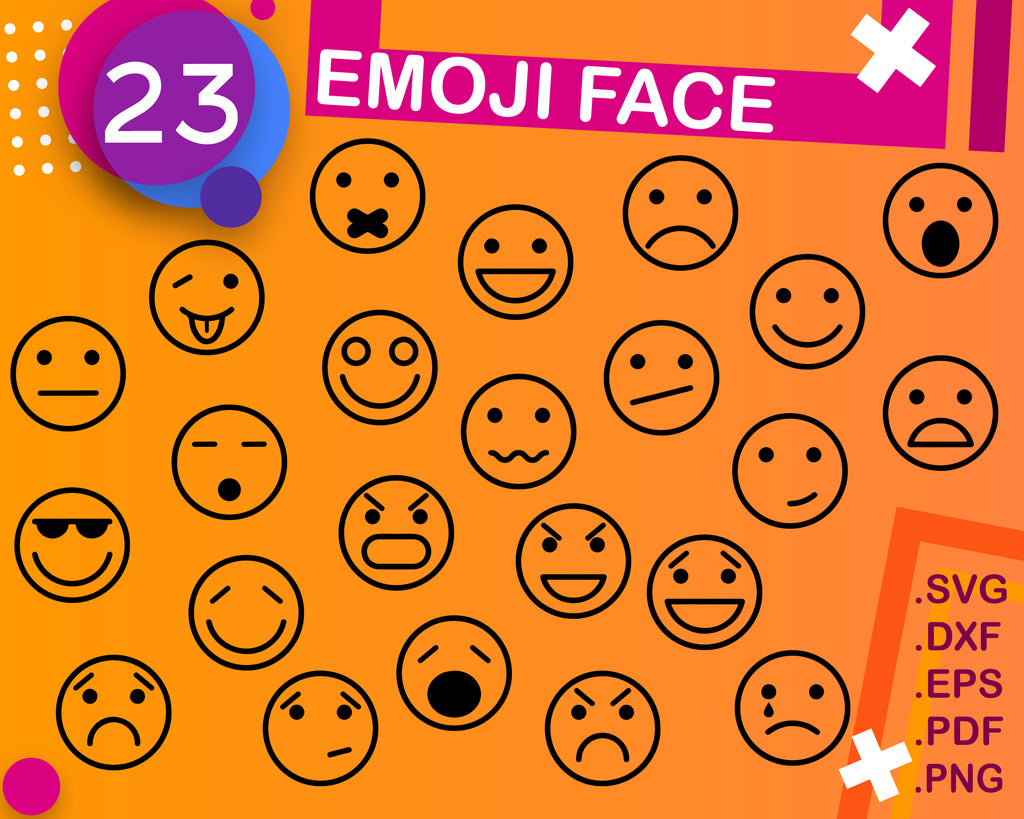 EMOJI FACE SVG, Emoji SVG, Digital Cut File, Silhouette SVG, Graphic Design, Cricut Cut, Instant Download, Svg, Dxf, Jpg, Eps, Png