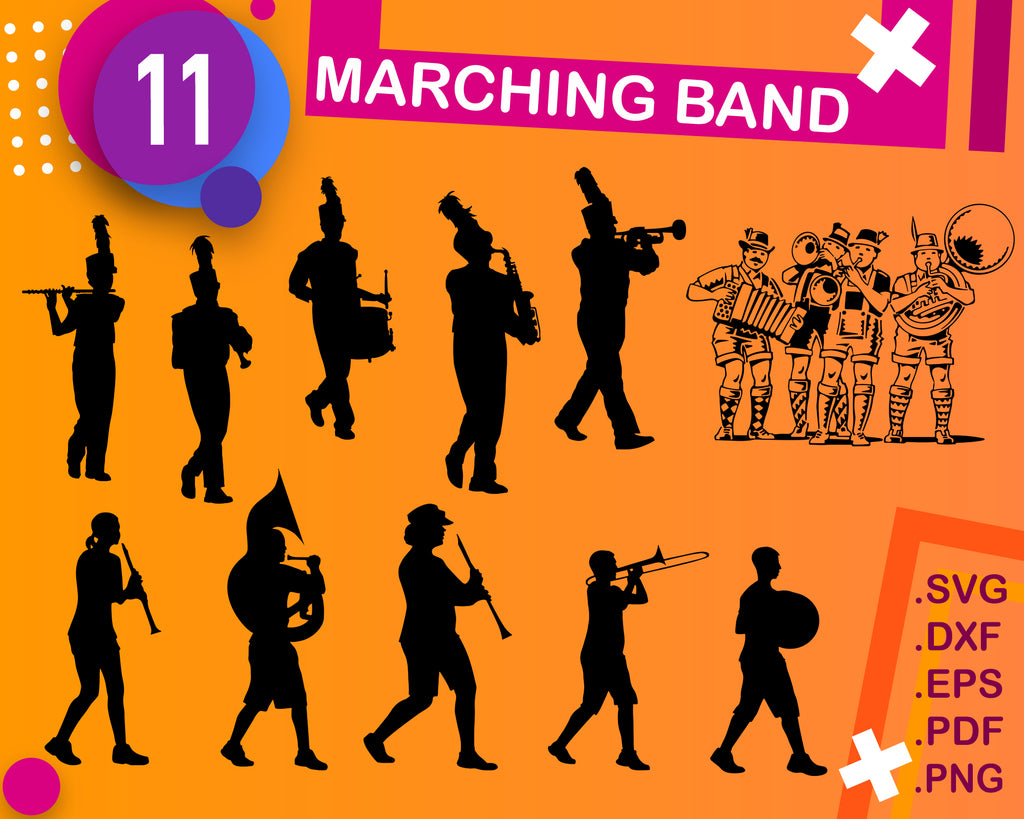 Marching Band SVG Bundle, Band SVG bundle, Band cut file, Band clipart, Band svg files for silhouette, files for cricut,svg, dxf, eps, png