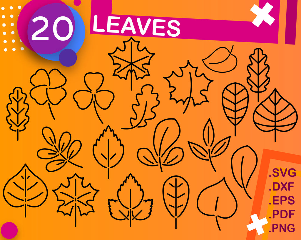 LEAVES SVG, Leaves, floral, Leaf Templates, Cut Files for Cricut, Silhouette, Clipart, Vector