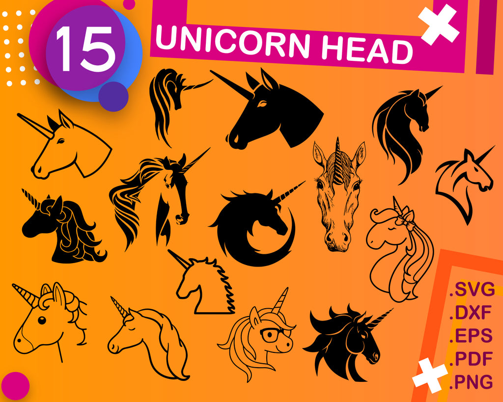 UNICORN HEAD SVG, Unicorn head monochrome Svg, Unicorn SVG, unicorn head svg cutting file, unicorn head svg instant download, Svg file for cricut, silhouette