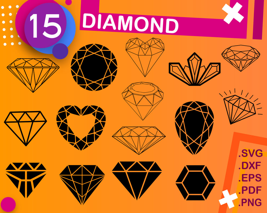 Diamond SVG Bundle, Diamond SVG, Diamond Clipart, Diamond Cut Files For Silhouette, Files for Cricut, Vector, Wedding Diamond Svg, Png