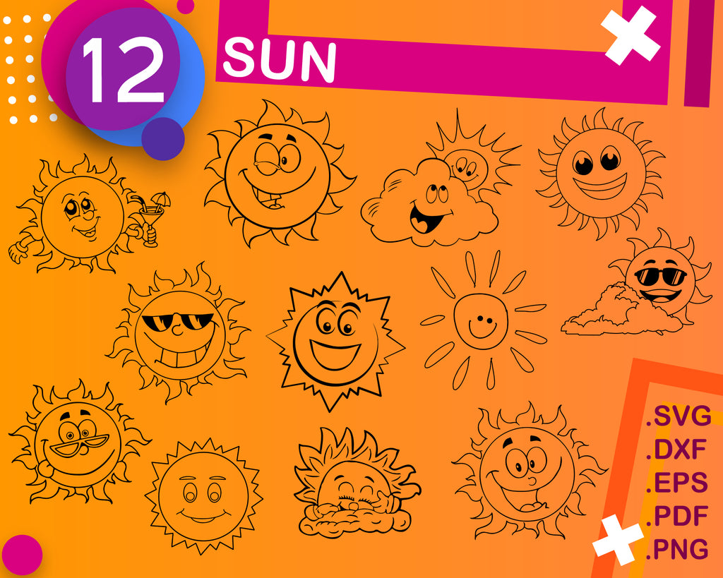 Sun SVG Bundle, Sun SVG, Sun Clipart, Sun Cut Files For Silhouette, Sun Files for Cricut, Sun Vector, Svg, Sun Dxf, Sun Png, Eps, Sun Design