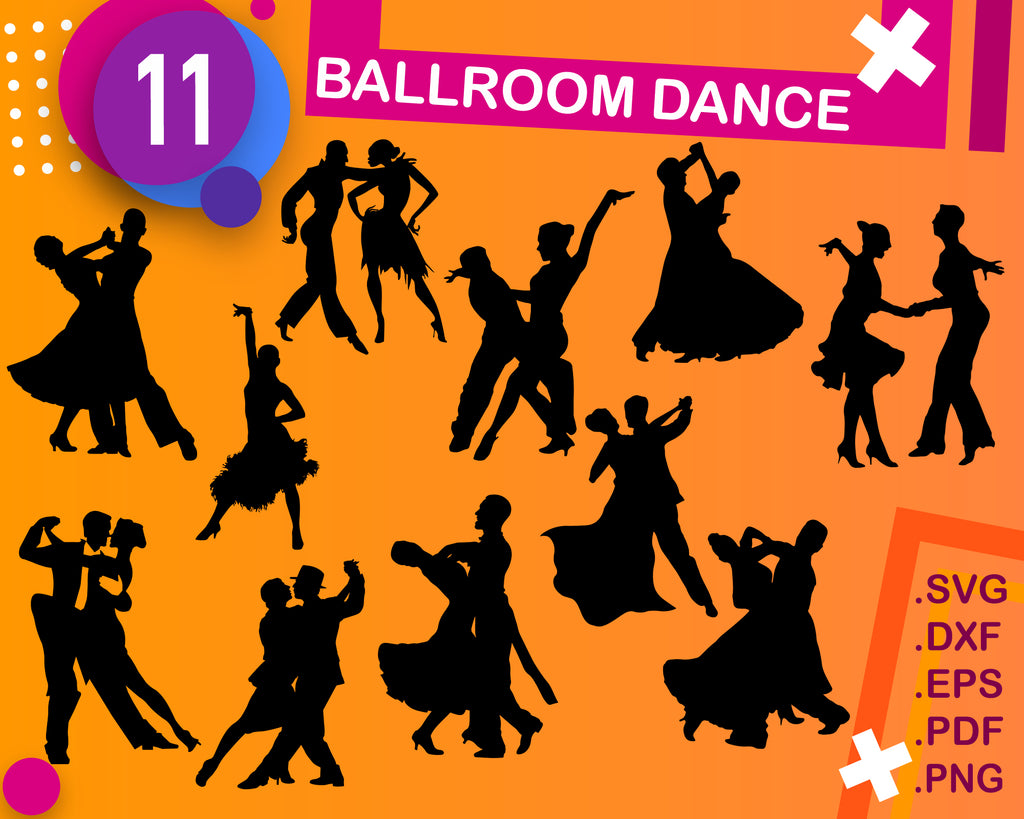 Ballroom Dance svg, Silhouettes Clipart, Dancers Clipart, Latin Dancers, Dancing Clipart, Couple Dance Silhouettes, Dancer SVG, SVG File