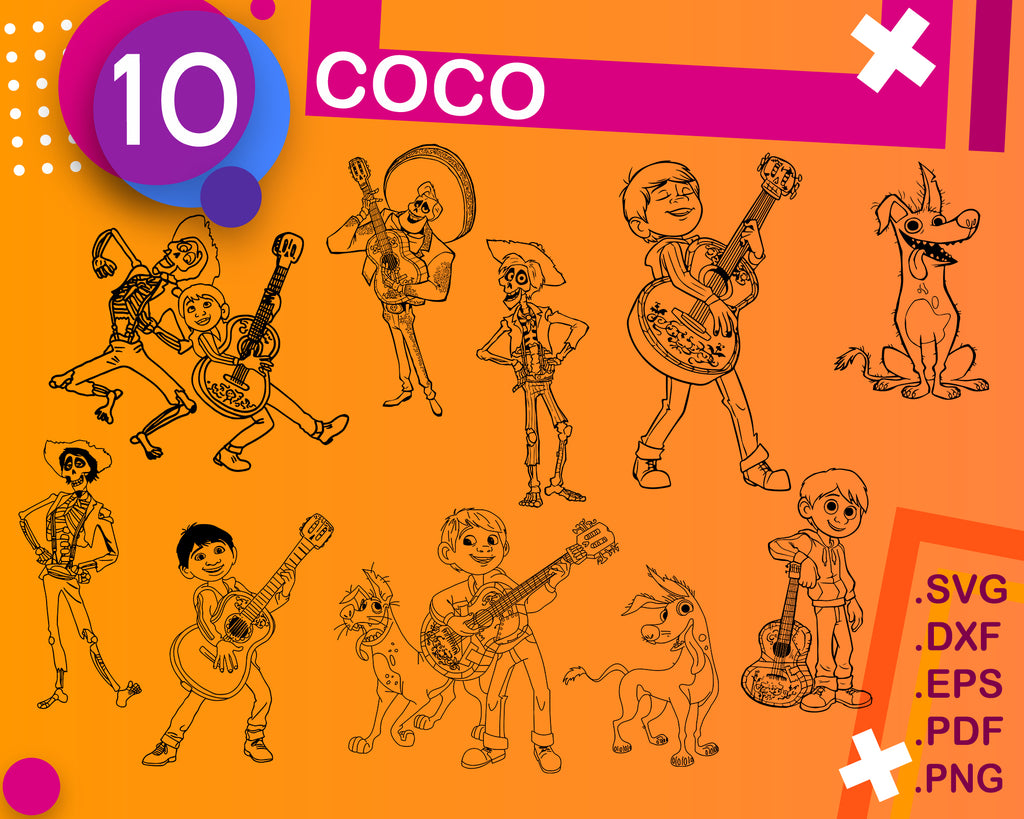 COCO SVG, Files for printable and cutting svg png bundle svg Halloween svg coco svg cricut printable svg Dia de muertos svg the day of the Dead