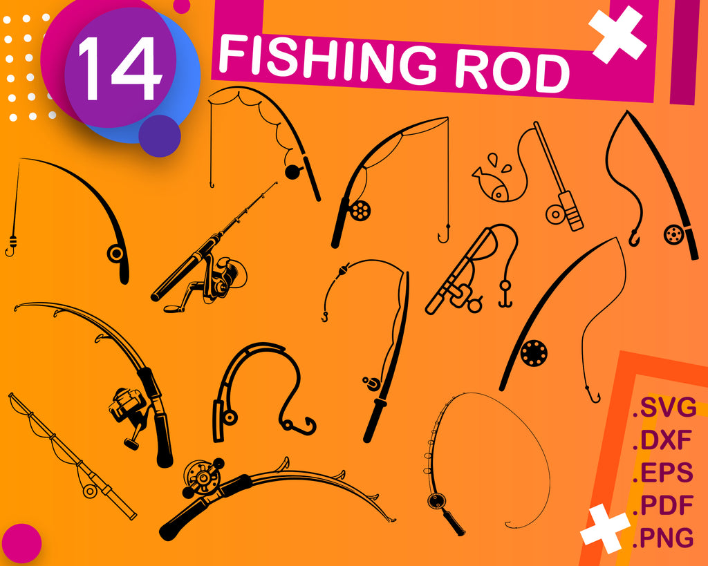 Fishing rod svg, fishing rod clipart, fishing svg, fishing silhouette, fishing cricut, cut files, clip art, digital download designs, svg