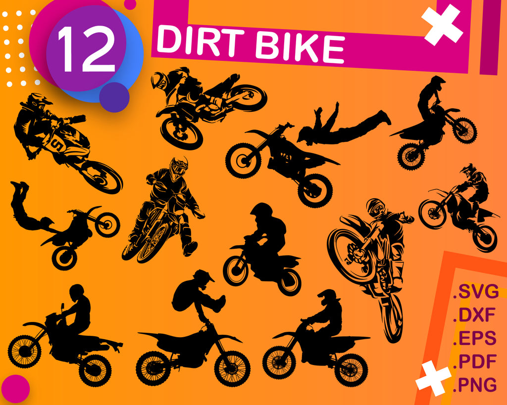 Dirt Bike SVG Cut File, Dirt Bike Bundle SVG, Dirt Bike Silhouette, Dirt Bike Clipart, Dirt Bike Vector, Digital File, Instant Download
