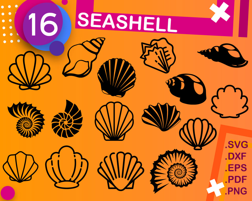 Seashell svg, shell svg, clam svg, scallop svg, cockle svg, seashell clipart, cut file, decal, stencil, iron on file, svg cut file, dxf file