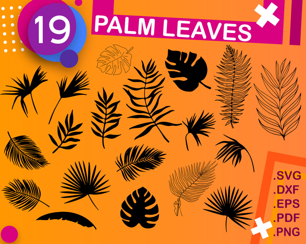 PALM LEAVES SVG, tropical leaves svg, jungle svg, palm leaf svg, leaf svg, tropical svg, leaves silhouette, leaves clipart, beach svg, print