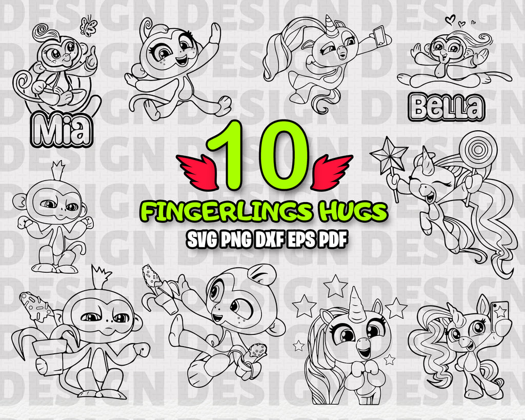 Fingerlings HUGS SVG, vector, clipart, decal, stencil, vinyl, cut file, image silhouette, outline, eps, dxf, png, vinyl design, instant download