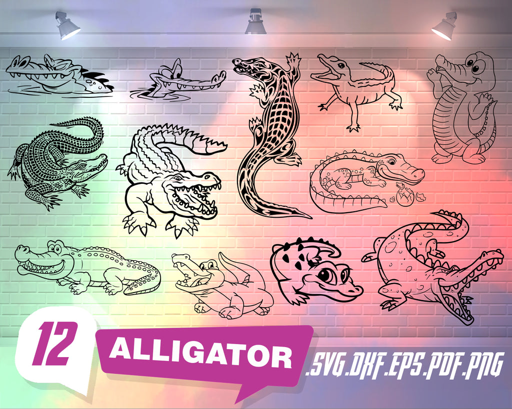 Alligator svg, Crocodile SVG Bundle, Alligator SVG, Alligator Clipart, Cut Files For Silhouette, Files for Cricut, Alligator Vector, Svg, Dxf, Png, Design