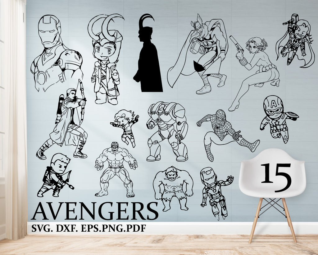 Avengers svg, marvel svg, avengers, thanos svg, superhero svg, tony stark svg, silhouette svg, svg cut file, svg files, the avengers, svg