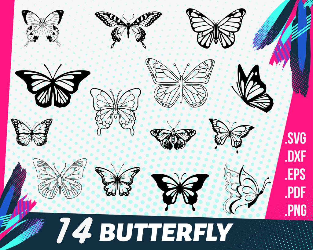 BUTTERFLY SVG, butterflies svg, patterned butterfly, insect svg, cartoon butterfly, cute butterfly, flourish butterfly, silhouette, cut file