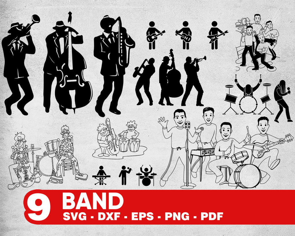 BAND SVG, orchestra svg, music clipart, musicians svg file, music svg, rock svg, music svg file, clipart, for cricut, for silhouette, png