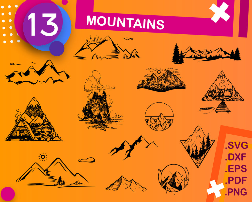 Mountains svg, mountain svg, hill svg, nature svg, rock svg, clipart, decal, stencil, vinyl, cut file, clipart, cuttable file, iron on, silhouette