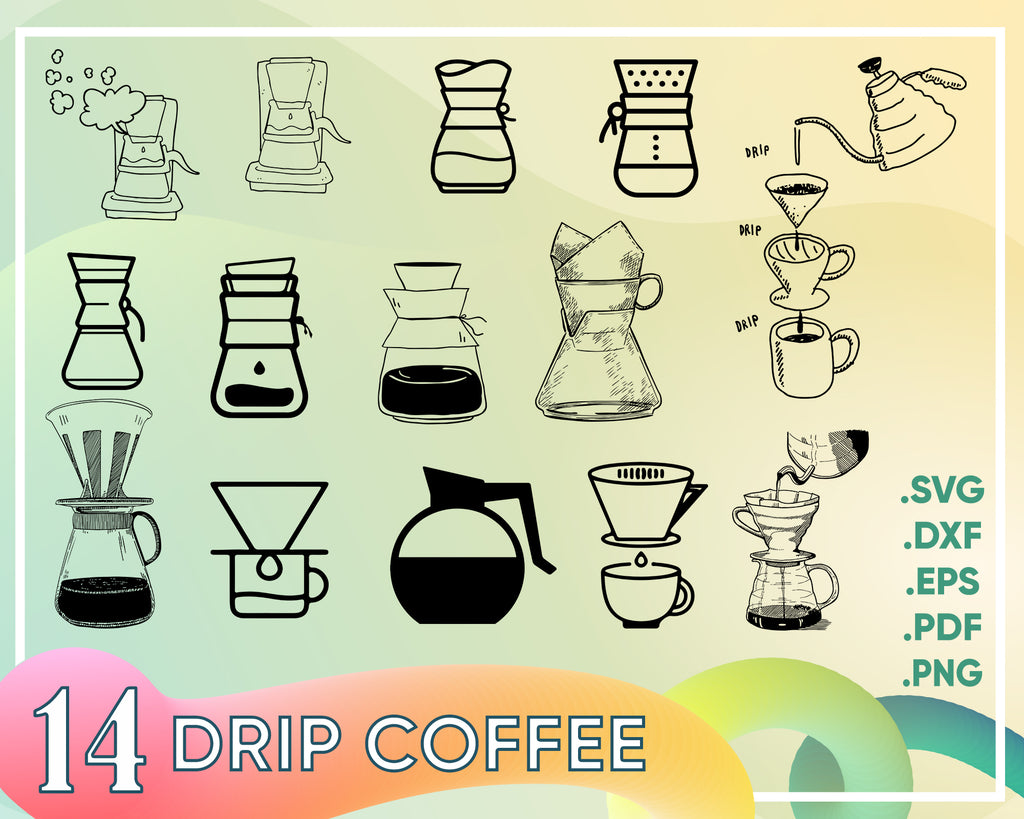 Drip Coffee Maker SVG, Coffee SVG, Drip Coffee Maker Clipart, Coffee Maker Files for Cricut, Cut Files For Silhouette, Dxf, Png, Eps, Vector