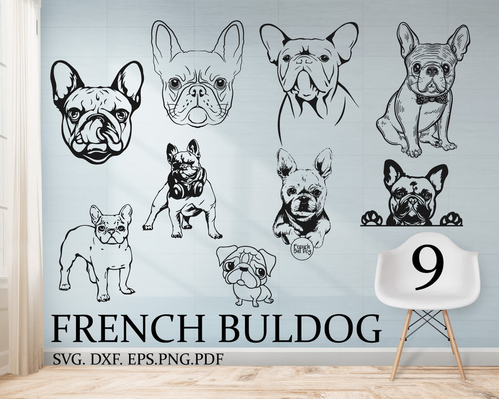 French bulldog svg, Bulldog Silhouettes, Digital Cutting File, Cricut Cut, Instant Download, Svg, Dxf, Jpg, Eps, Png