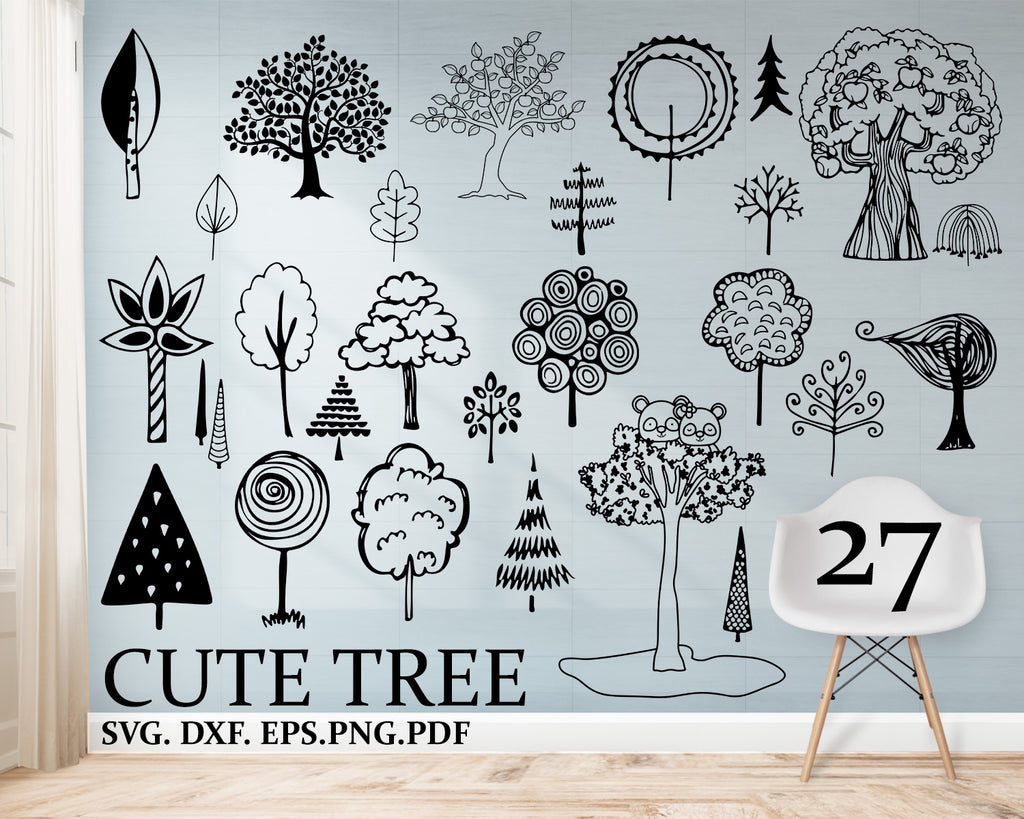 Cute Tree svg, Bundle, Cute Tree Clipart, Cut Files For Silhouette, Files for Cricut, Vector, Tree Svg, Dxf, Png, Eps, Design