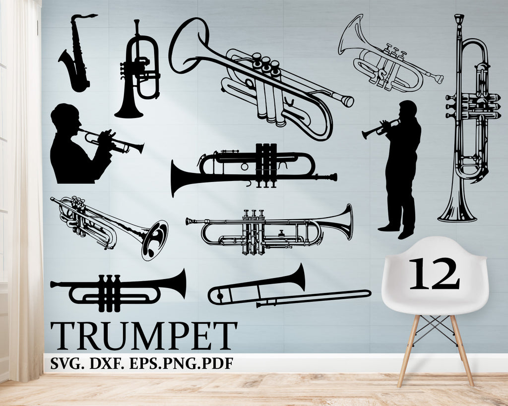 TRUMPET svg, Trumpet shilouette SVG, Trumpet Clipart, Cut Files For Silhouette, Files for Cricut, Vector, music svg, trumpet Dxf, Png
