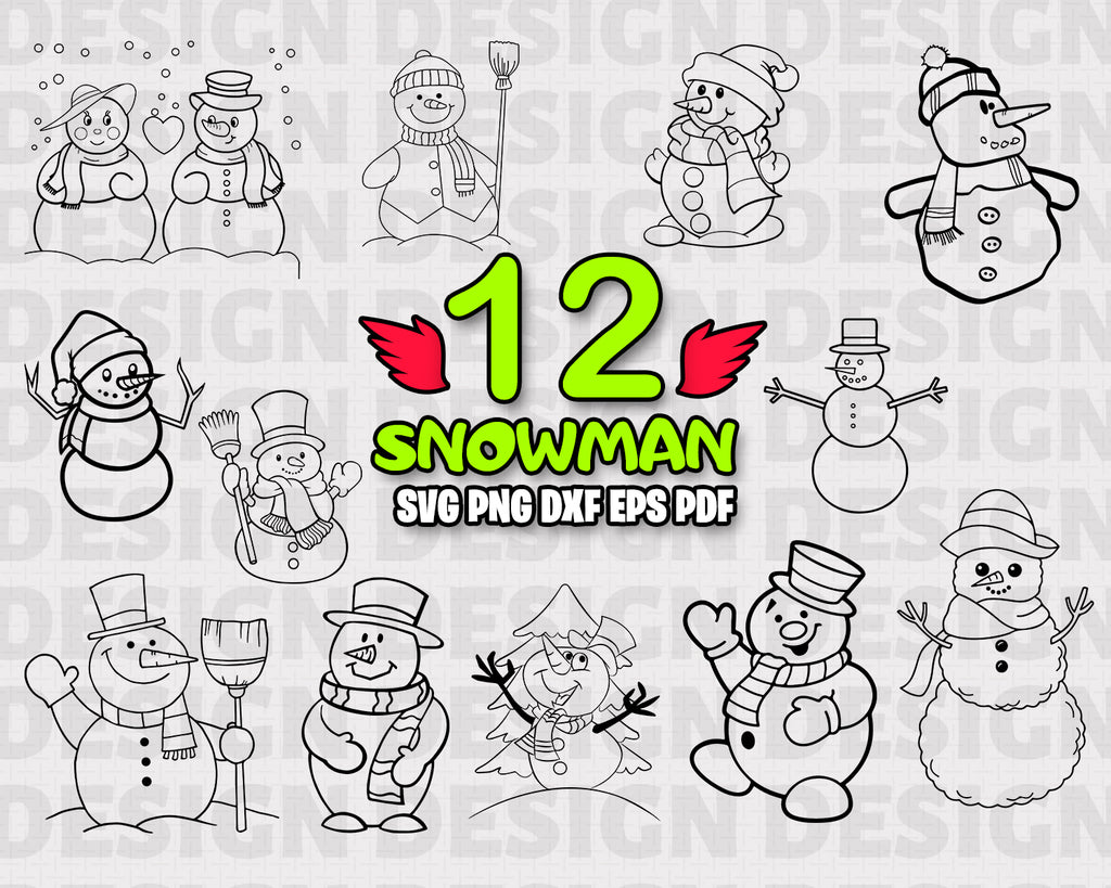 Snowman SVG Cut File - Snowman Bundle SVG - Snowman Silhouette - Snowman Clipart - Snowman Vector -Printable -Digital File -Instant Download