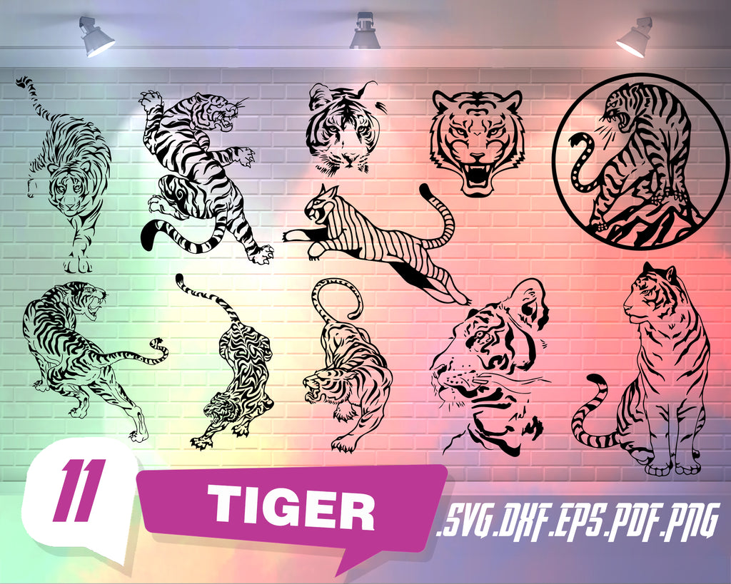 Tiger svg, Tiger SVG Bundle, Tiger SVG, Tiger Clipart, Tiger Cut Files For Silhouette, Tiger Files for Cricut, Tiger Vector, Svg, Dxf, Png, Eps, Design